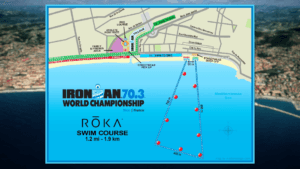 Graphical representation of the Swim Course for Ironman 70.3 WC