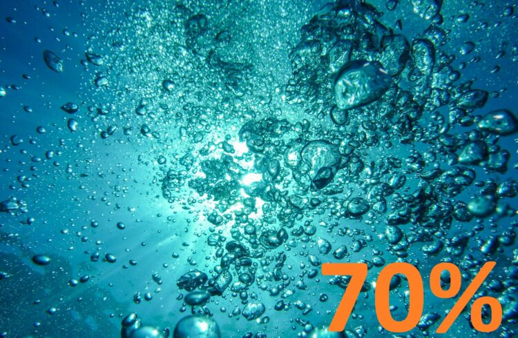 Water bubbles with number seventy and the percent simbol