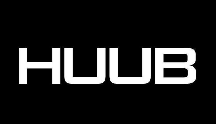Company Huub logo with white letters on a black background
